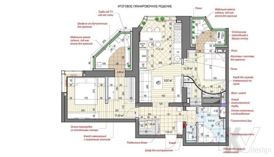 планировка 3-комнатной квартиры, ЖК Некрасовка Парк