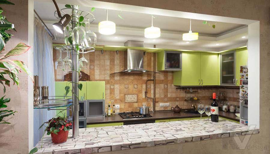 дизайн однокомнатной квартиры - фото кухни 1