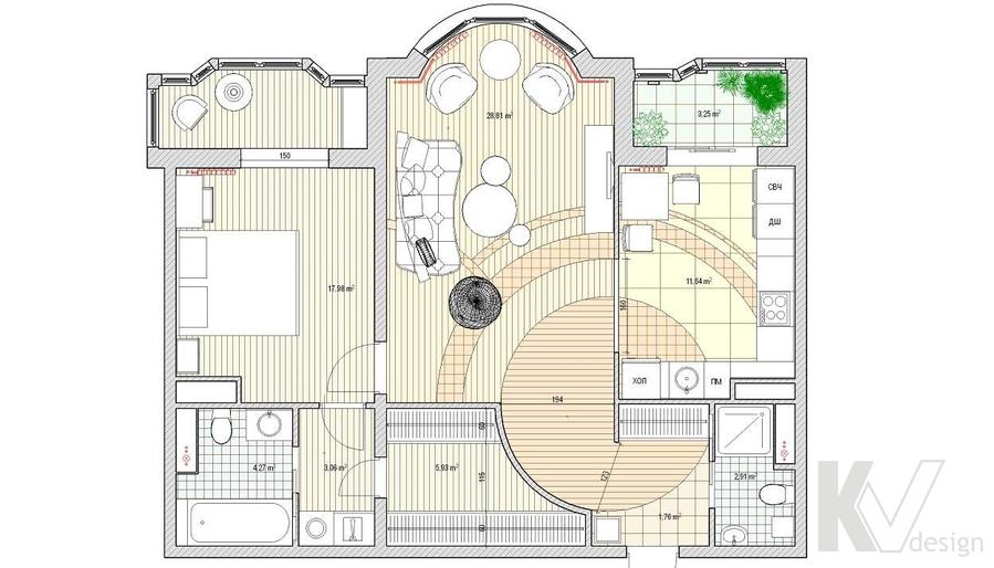 Дизайн квартиры на Профсоюзной, планировка-3