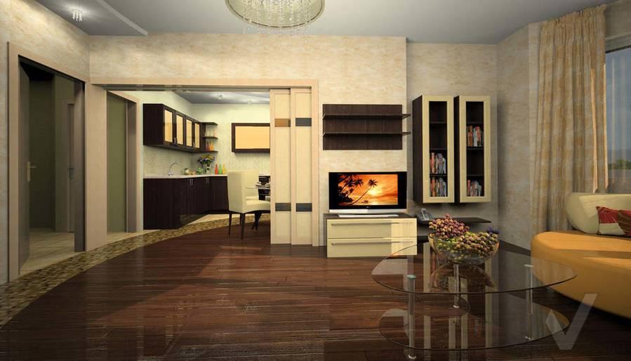 Дизайн квартиры И-155, гостиная-1