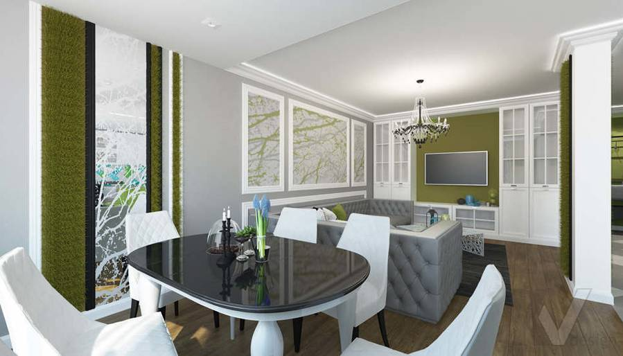 Дизайн гостиной в 5-комнатной квартире, Климовск - 4