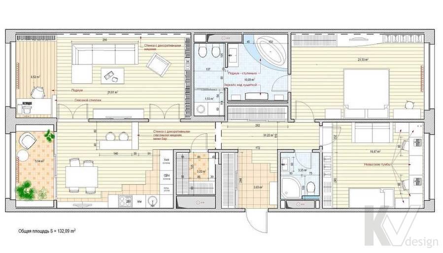Дизайн квартиры в ЖК Аэробус, планировка-1