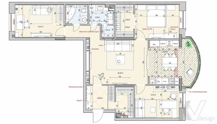 Перепланировка 4-комнатной квартиры, Реутов