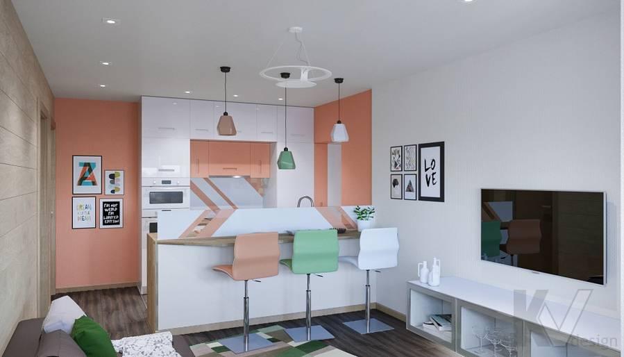 Дизайн гостиной-кухни П-44Т, Бутово Парк - 5
