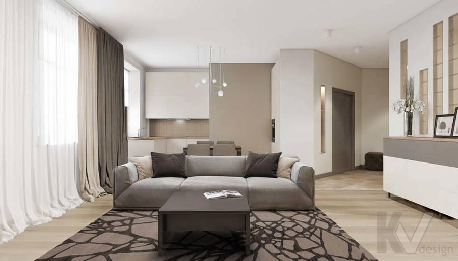 дизайн гостиной-кухни в 3-комн. квартире на Сухаревской - 2