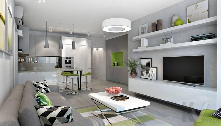 Гостиная-кухня в 3-комнатной квартире И-155, Красногорск - 4