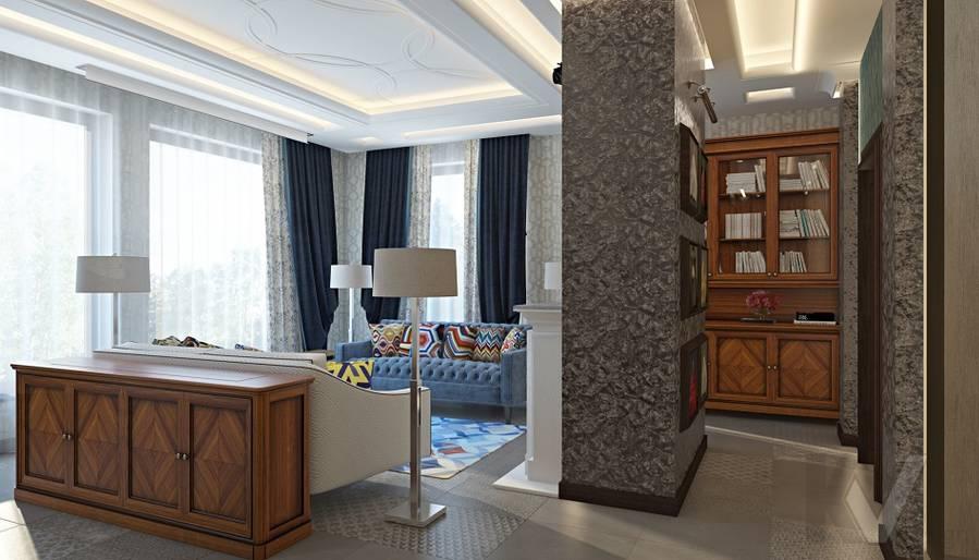Дизайн гостиной-кухни в трехэтажном доме - 3