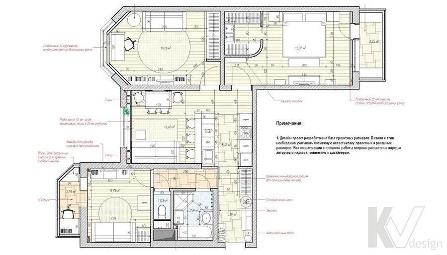 перепланировка 3-комнатной квартиры КОПЭ-М-Парус
