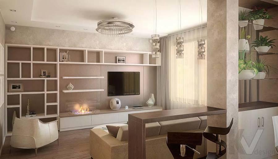 Таунхаус в п. Павлово, дизайн гостиной - 6