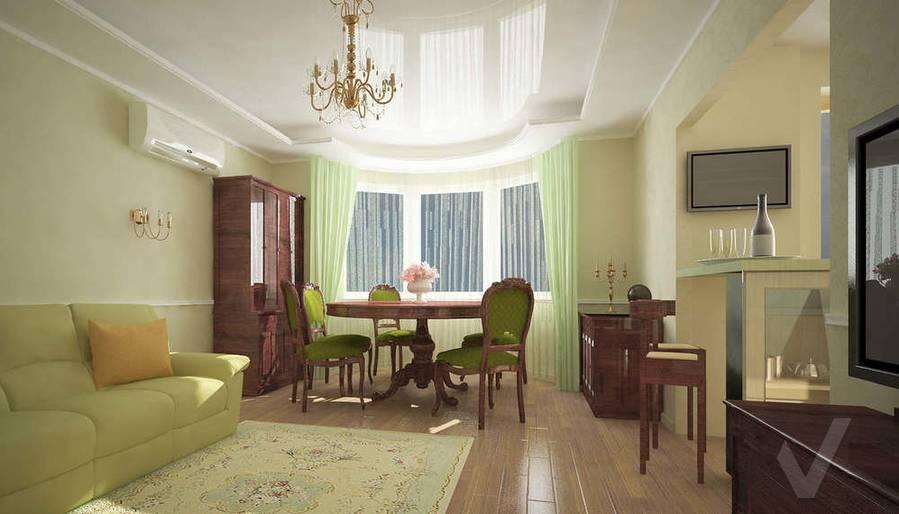 3D визуализация гостиной однокомнатной квартиры, дневное освещение