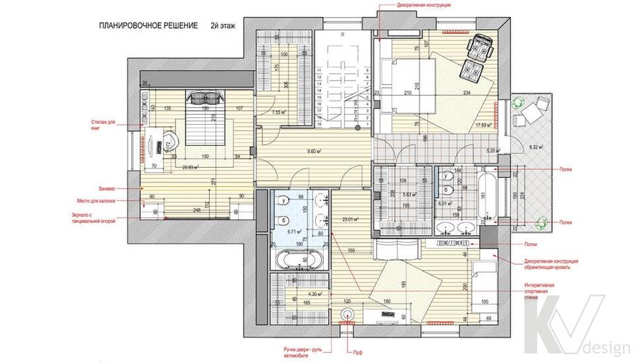 Перепланировка 2-го этажа в доме, КП Пестово