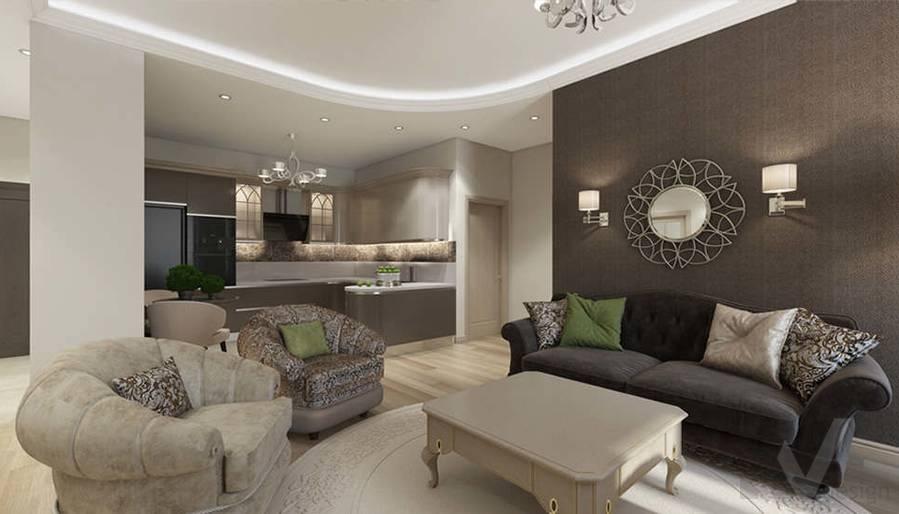 """Дизайн гостиной-кухни в 2-комнатной квартире, ЖК """"Авеню 77"""" - 4"""