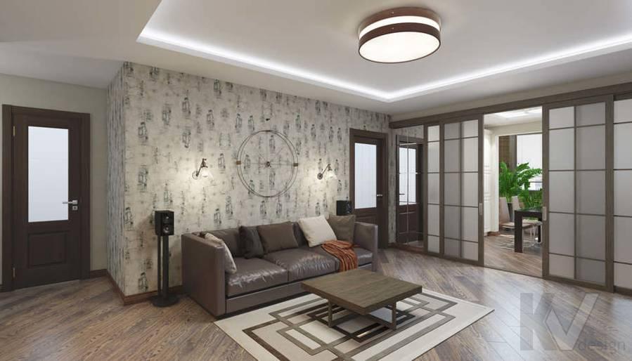 дизайн гостиной в 3-комнатной квартире в ЖК Лосиный Остров - 2