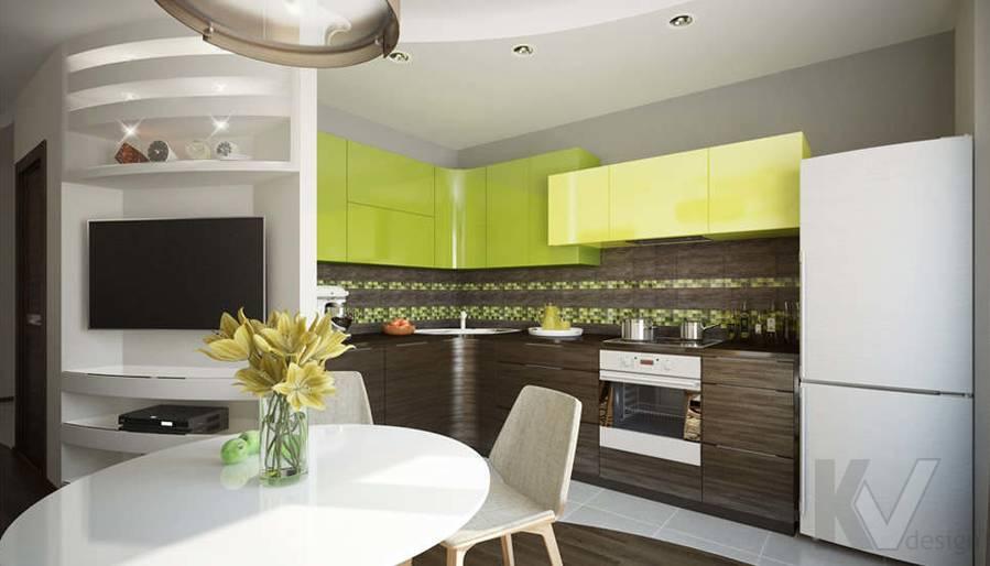 Дизайн гостиной-кухни в 2-комнатной квартире, Мытищи - 3