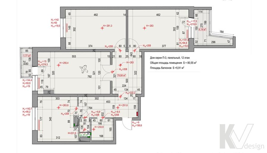Планировка квартиры серии П-3, Ясенево