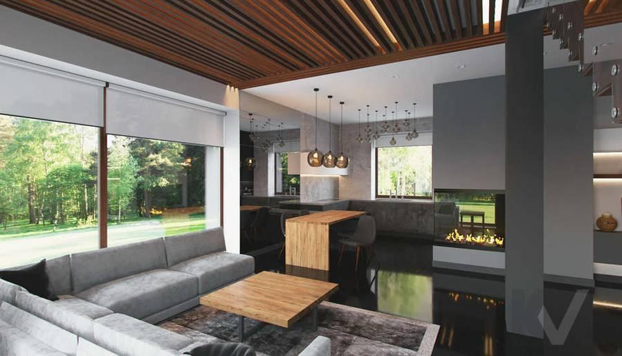 """Дизайн 1-го этажа в доме,  КП """"Западная Долина"""" - 1"""
