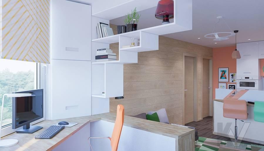 Дизайн кабинета в квартире серии П-44Т, Бутово Парк - 3