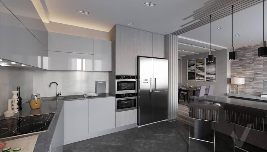 Кухня в проекте объединения квартир, Мытищи - 6