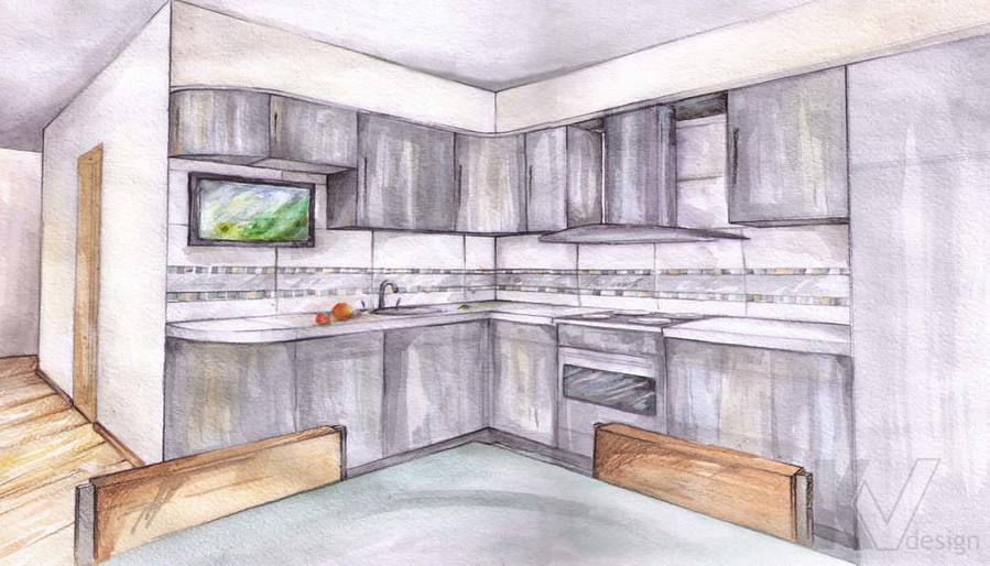 Дизайн квартиры в Красногорске, эскиз кухни