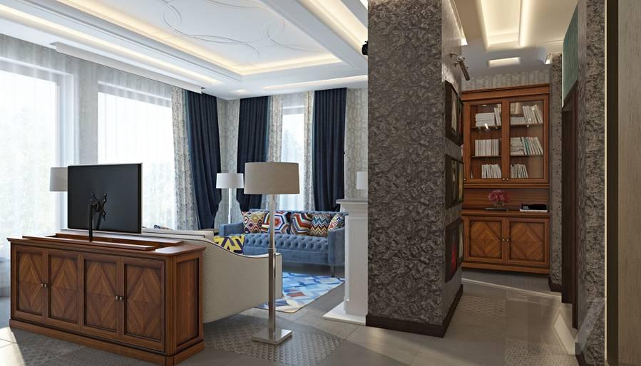 Дизайн гостиной-кухни в трехэтажном доме - 4