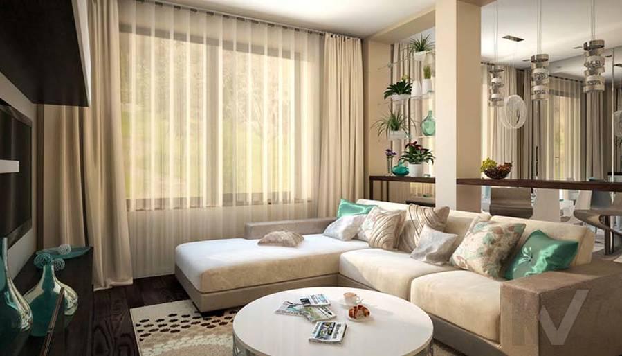 Таунхаус в п. Павлово, дизайн гостиной - 12