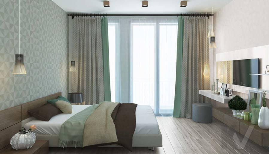 дизайн спальни в 3-комнатной квартире, Троицк - 1