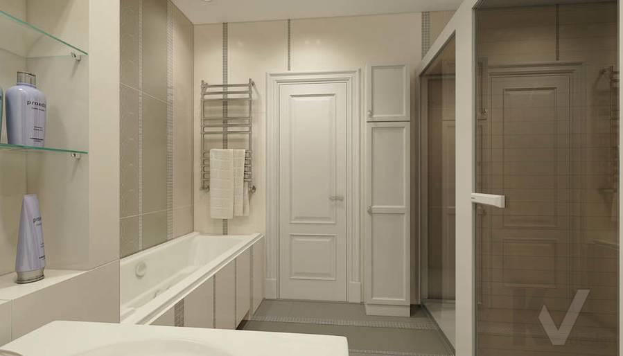 дизайн ванной комнаты в 3-комнатной квартире П-44Т - 3