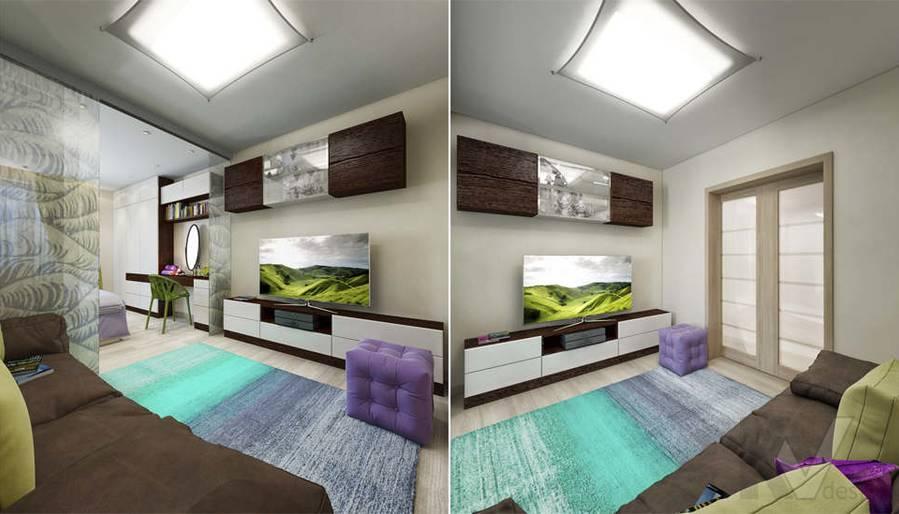 дизайн гостиной-спальни серии П-3, Новое Ясенево - 3