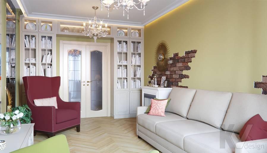 Дизайн гостиной в квартире серии П-3, Ясенево - 2