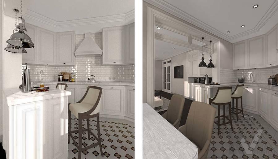 дизайн гостиной-кухни в 3-комнатной квартире, Welton Park - 5