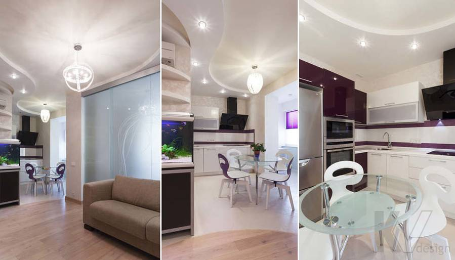 Фото дизайна гостиной-кухни - 4
