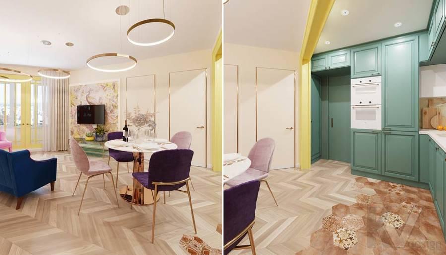 Дизайн гостиной-кухни в ЖК Летний Сад - 5