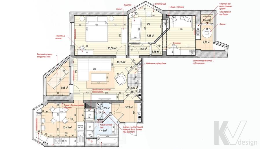 Перепланировка 3-комнатной квартиры П-44Т, Медведково