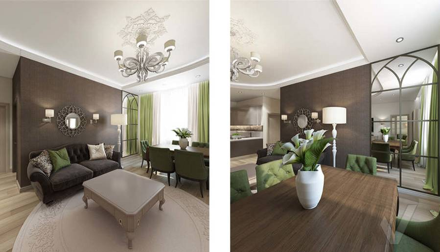 """Дизайн гостиной-кухни в 2-комнатной квартире, ЖК """"Авеню 77"""" - 8"""