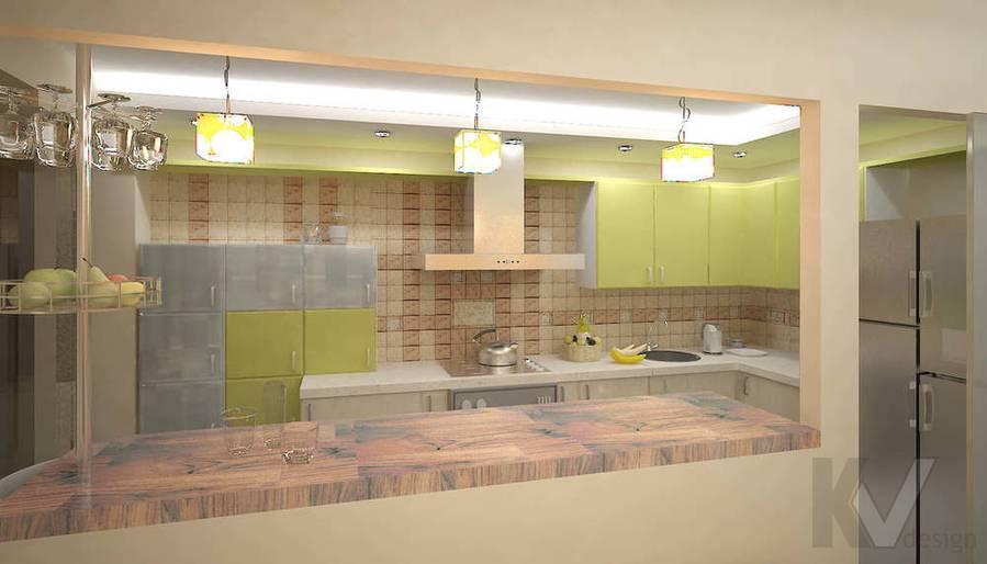3D визуализация кухни однокомнатной квартиры, ночное освещение