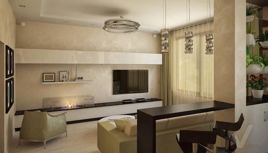 Таунхаус в п. Павлово, дизайн гостиной - 5