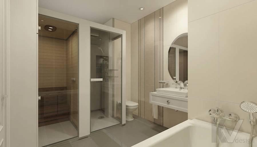дизайн ванной комнаты в 3-комнатной квартире П-44Т - 1