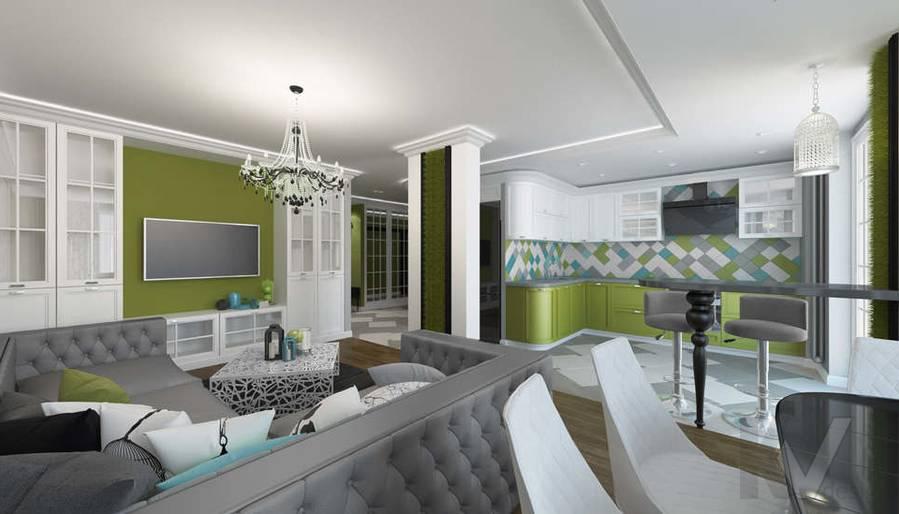 Дизайн гостиной в 5-комнатной квартире, Климовск - 3