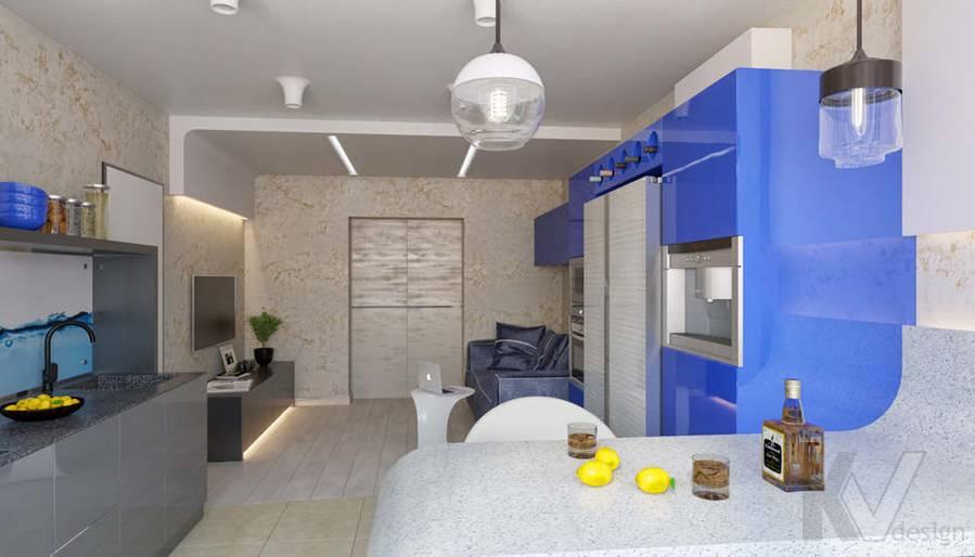 дизайн гостиной-кухни в 3-комн. квартире, ЖК Некрасовка Парк - 2