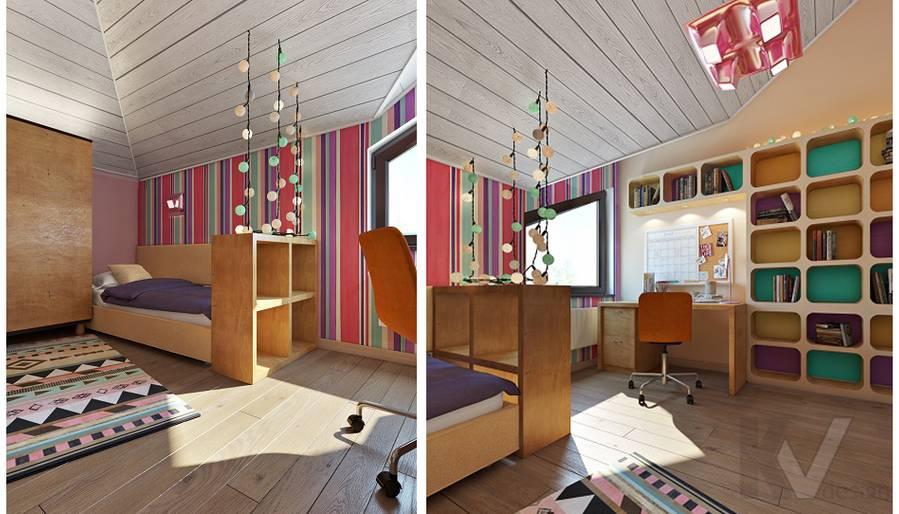Дизайн детской младшей дочери в трехэтажном доме - 2