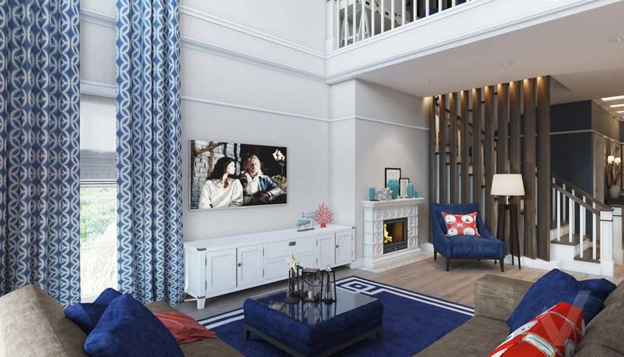 Дизайн гостиной в коттедже, КП «Vita Verde» - 4