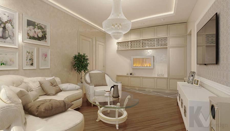 дизайн гостиной в 3-комнатной квартире П-44Т - 2