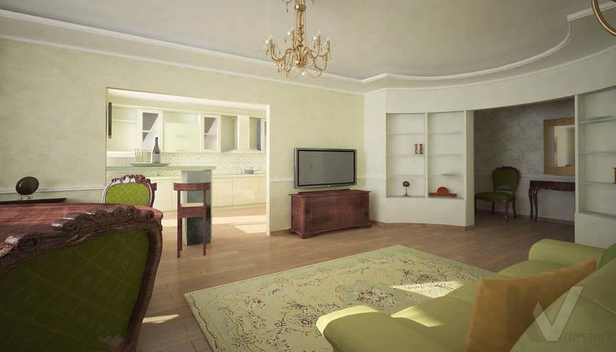 дизайн гостиной в двухкомнатной квартире, Мытищи