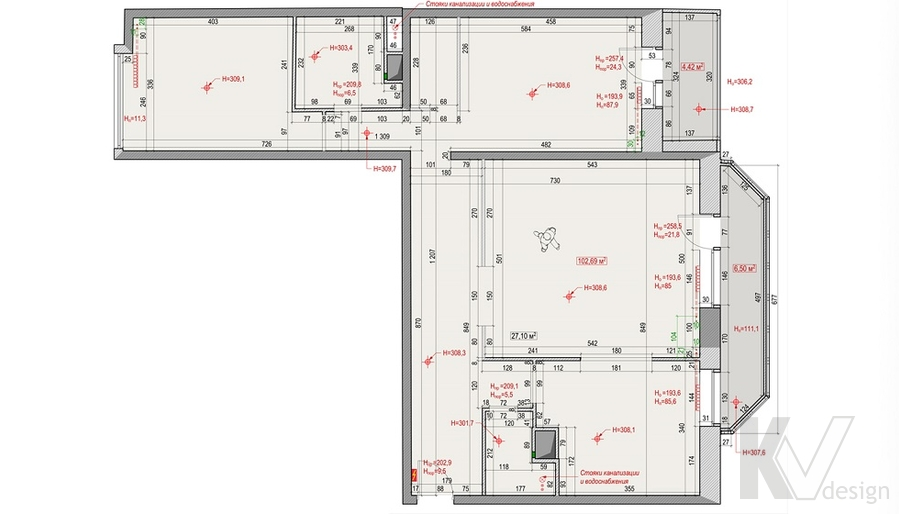 Планировка 3-комн. квартиры в Раменках