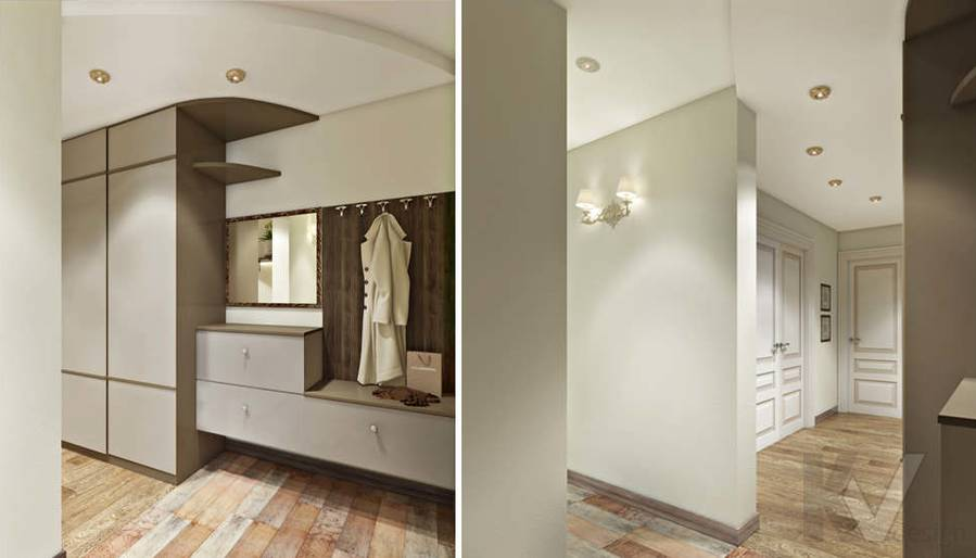 дизайн прихожей в 3-комнатной квартире, Войковская