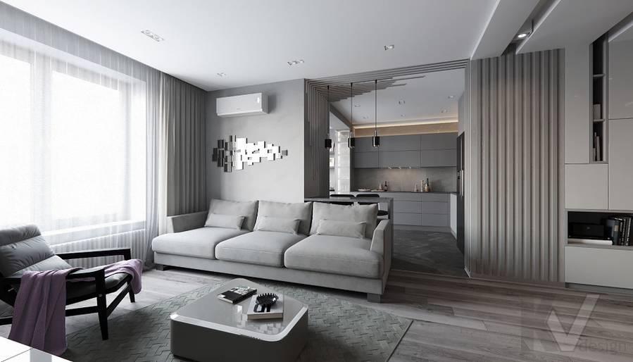 Гостиная в проекте объединения квартир, Мытищи - 2