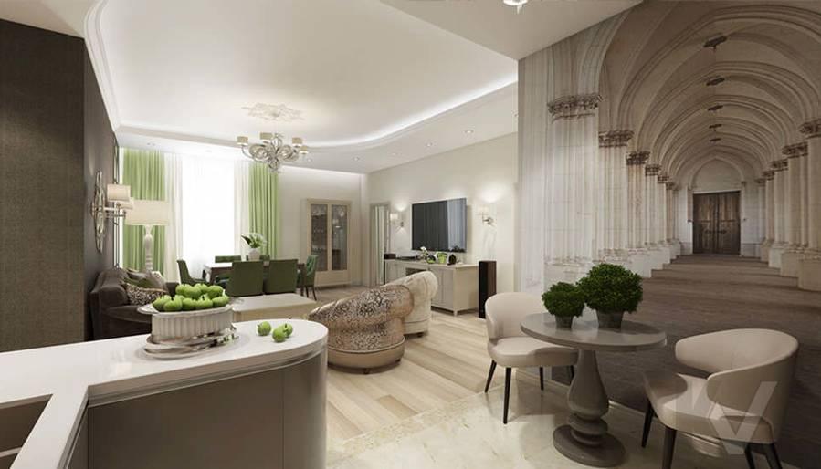"""Дизайн гостиной-кухни в 2-комнатной квартире, ЖК """"Авеню 77"""" - 1"""