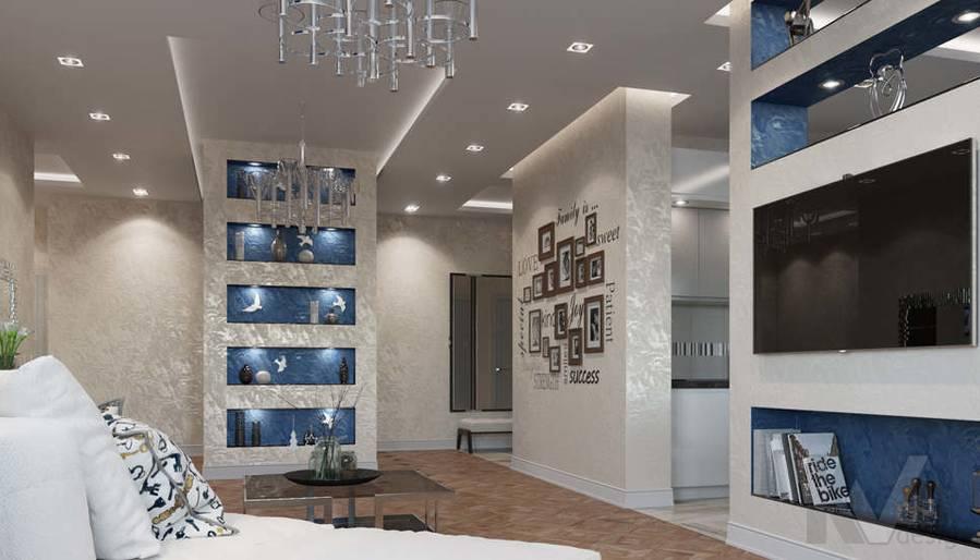 дизайн гостиной в 3-комнатной квартире 100 кв.м., Реутов - 4