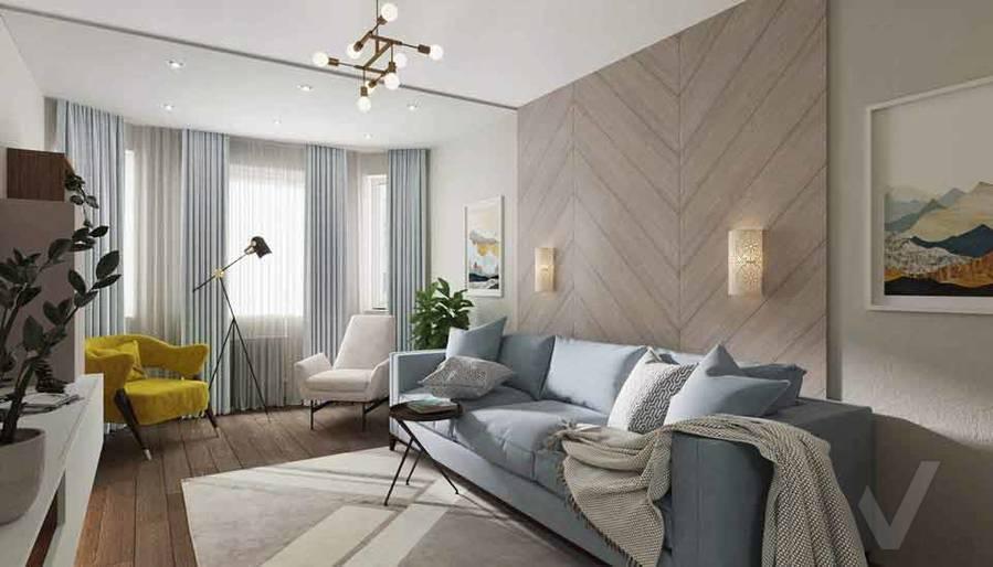 Дизайн гостиной в квартире серии П-3М, Южное Бутово - 1
