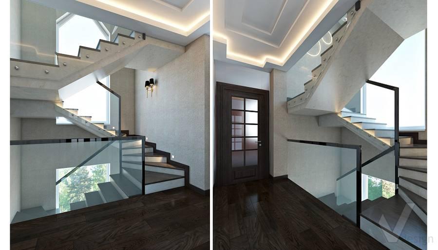 Дизайн лестничного холла в трехэтажном доме